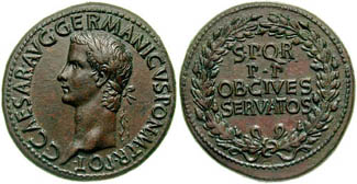 Sesterius of Caligula with four line legend within and oak wreath