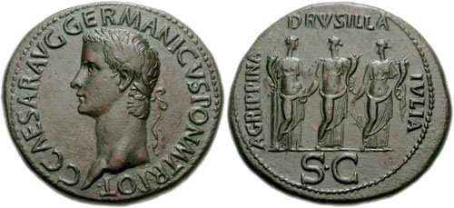 Sestertius of Caligula with his three sisters on the reverse