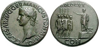 Sestertius of Caligula showing on platform, raising hand, facing five soldiers, each holding a legionary eagle