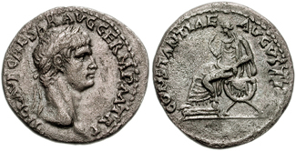 Denarius of Claudius struck 41-42 CE at Rome