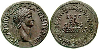 Sestertius of Claudius struck 41-42 CE in Rome