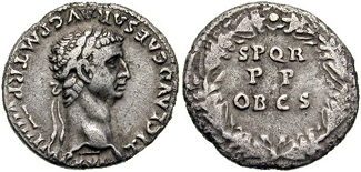 Denarius of Claudius struck 49-50 CE at Lugdunum