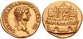 Gold aureus of Claudius celebrating his accession