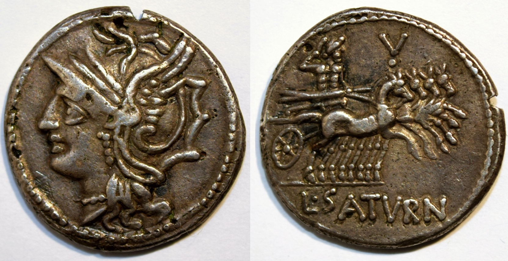 Denarius of L. Appuleius Saturninus with Head of Roma Left / Apollo in a Quadriga.