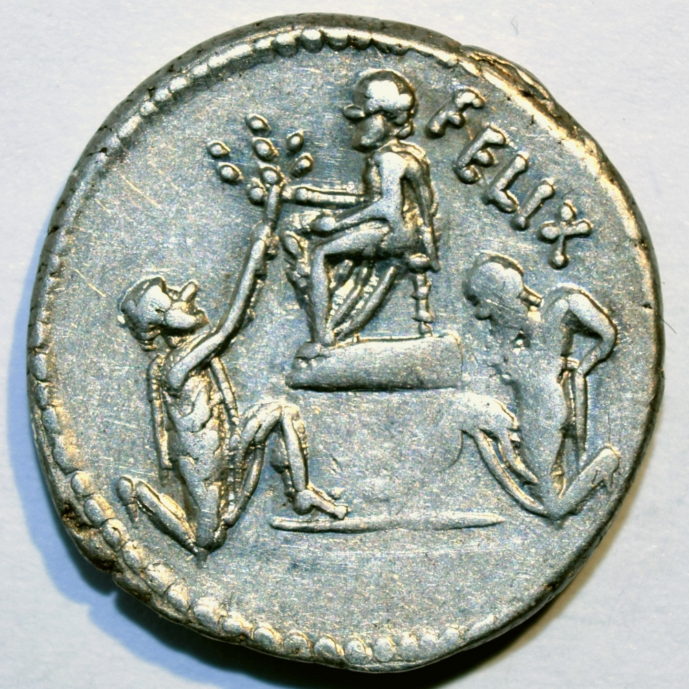 Denarius of Faustus Cornelius Sulla (son of Sulla the Dictator) showing Bocchus of Mauritania and King Jugurta with hands tied both kneeling before Sulla