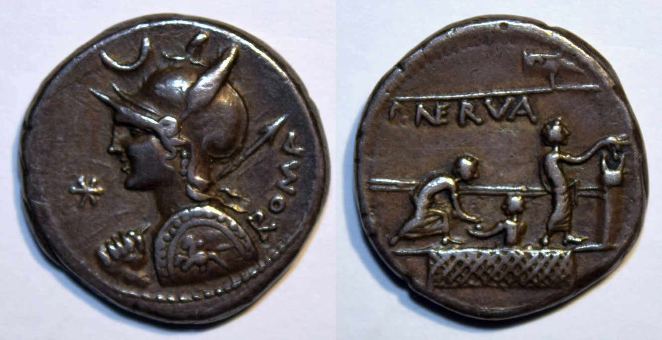 Denarius of P. Licinius Nerva showing citizen voting in the Roman Republic
