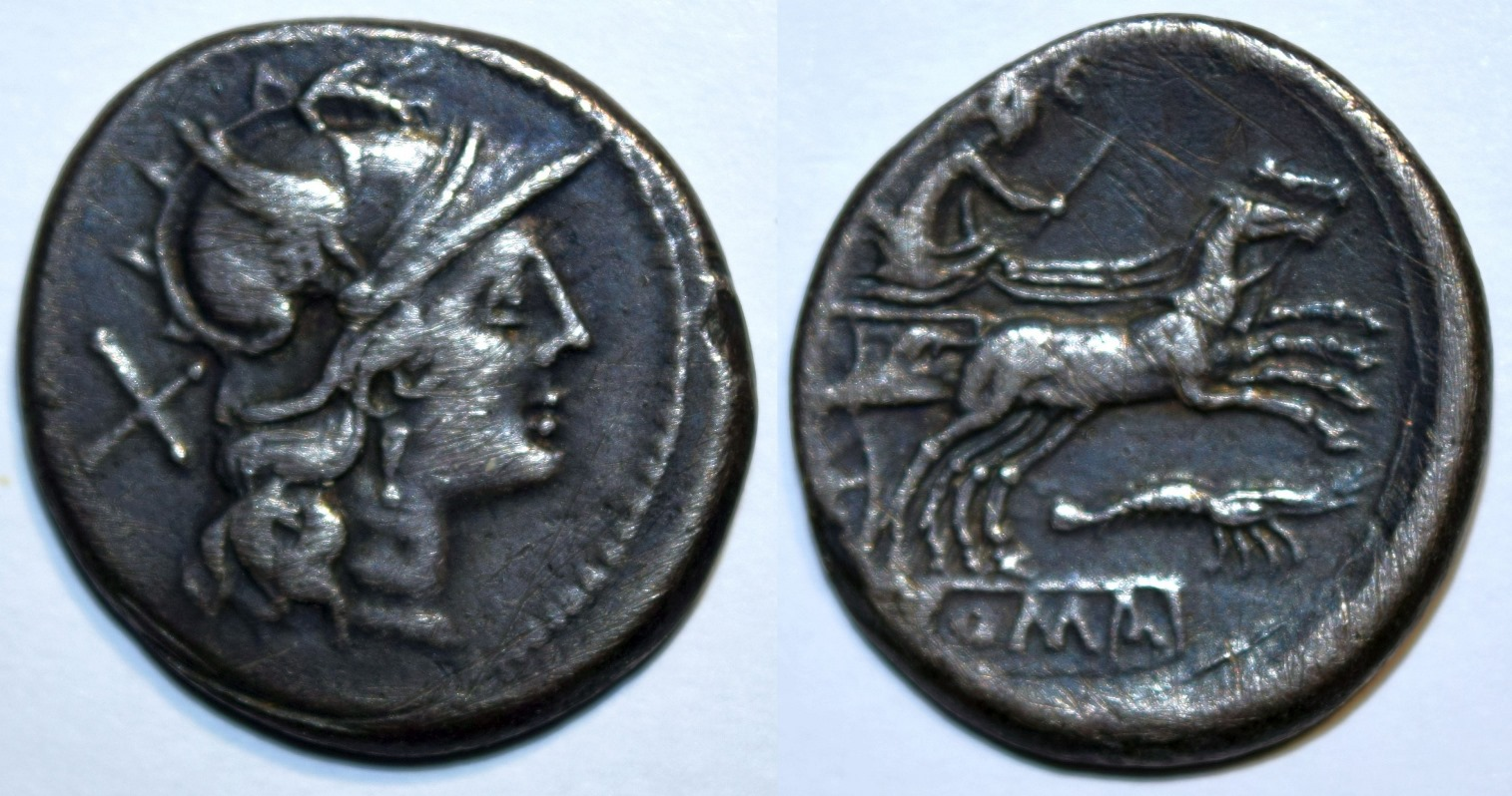 Anonymous Denarius with Head of Roma Right / Diana/Luna in Biga.