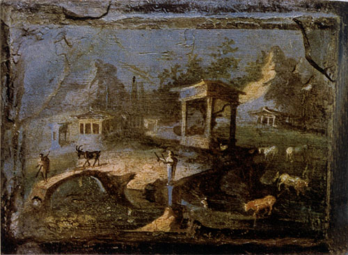 Painted lanscape at the Villa at Boscotrecase outside Pompeii