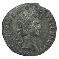 Emperor Nerva seen on the obverse of a roman dupondius